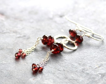 Silver Garnet Earrings Long Red Chain Dangle Earrings Dramatic Sterling Silver Gemstone Jewelry