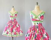 Vintage 50s Dress/ 1950s Cotton Dress/ Pink & Green Floral Border Print Cotton Dress w/ Shelf Bust S/M