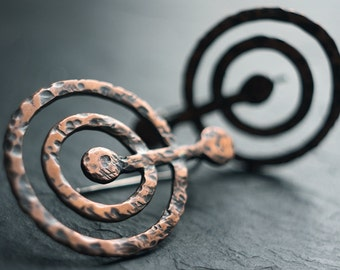 Return to Source - Copper and sterling silver earrings, ancient cup and ring rock carvings, petroglyphs