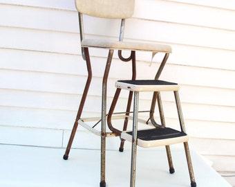 Vintage Kitchen Stool, Folding Step Stool, Cosco Stool, Chrome Chair, Beige Vinyl – As Is