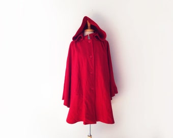 1980s herman kay lipstick red wool cape in red with hood