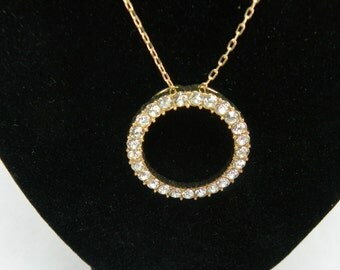 VINTAGE 1980s Clear Rhinestone Eternity Necklace Round Circle Wreath Gold Crystal Costume Jewelry Mothers Day Valentines Day Gift