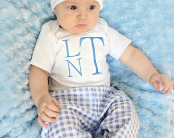 Boy Baby Clothes Baby Monogram Baby Bodysuit with Hat Pants Options Personalized Baby Boy Newborn Boy Take Home Outfit Baby Gifts