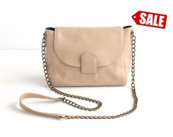 ROXY Leather Crossbody Bag. Leather Chain Purse. Small Leather Bag. Small Leather Purse. Small Purse. Cross Body Bag. Nude Shoulder Purse