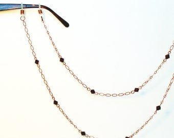 Eyeglass Chain, Crystals & Copper