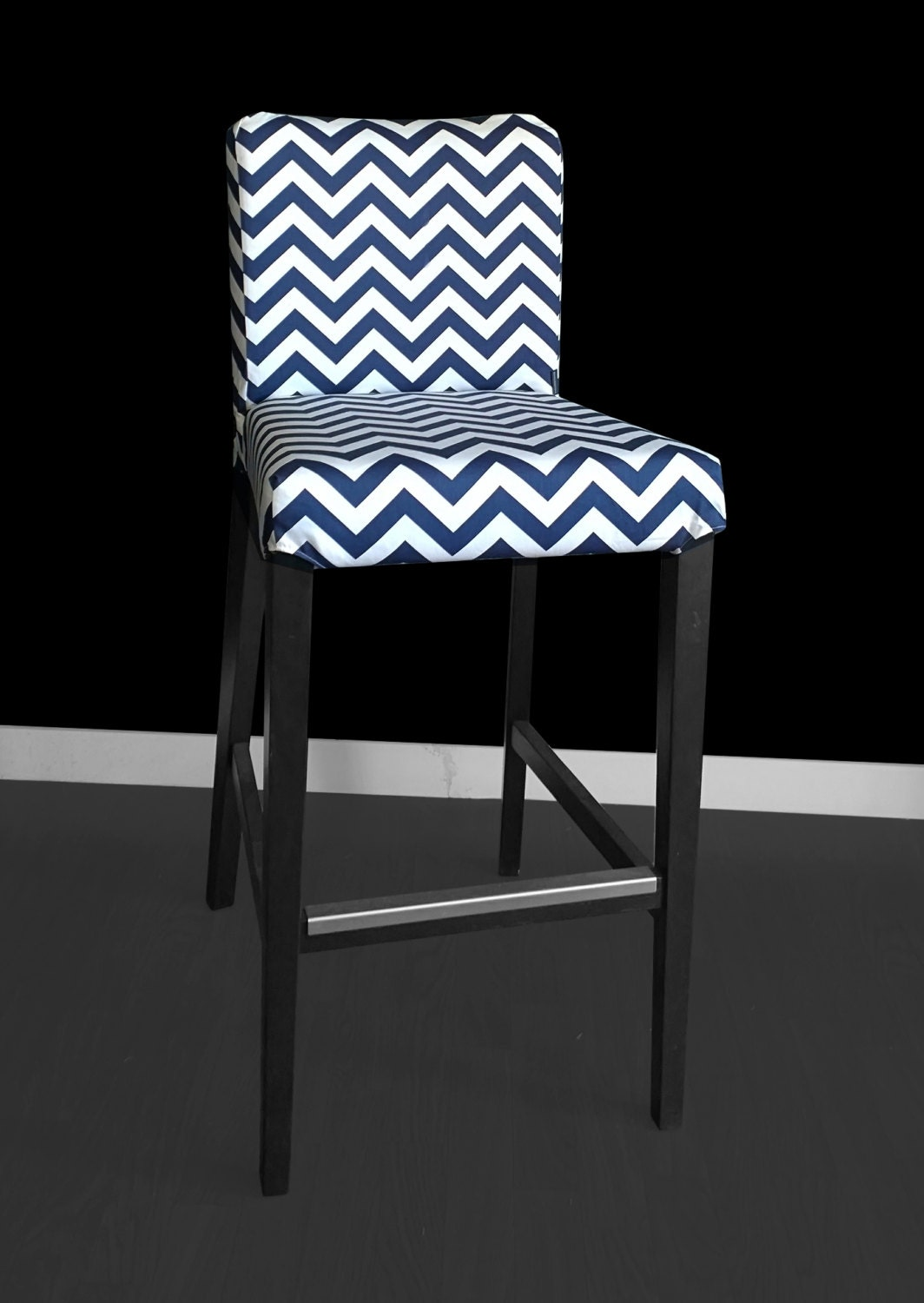 Sample Ikea Henriksdal Bar Stool Chair Cover Navy Chevron