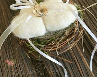 Wedding Ring Bearer Pillow Rustic White Wool Hearts Farmhouse Wedding Box  Woodland Ring Pillow Country Wedding Ring Pillow