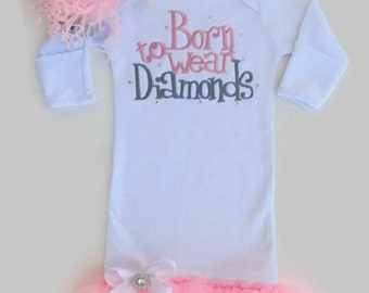 White Infant Gown with Candy Pink Tutu Ruffles Born to Wear Diamonds baby girl gift, newborn baby girl, baby girl gown,baby shower gift,