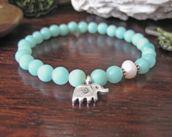 Elephant Bracelet - Amazonite Bracelet with Fine Silver Charm and Beach Pearl, Aqua Pastel Blue Stone for Healing and Prosperity