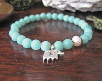 Elephant Charm Bracelet - Amazonite Bracelet with Fine Silver Charm and Pearl, Aqua Pastel Blue Stone