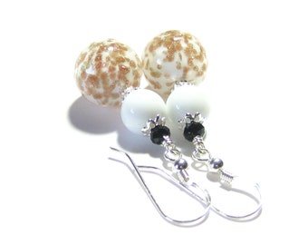 Murano Glass White Black Silver Copper Ball Earrings, Lampwork Glass Earrings, Venetian Glass Jewelry, Dangle Clip-Ons, Gift Idea