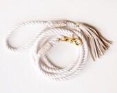 Rope Dog Leash - Khaki Leather - Pet Lead Beige