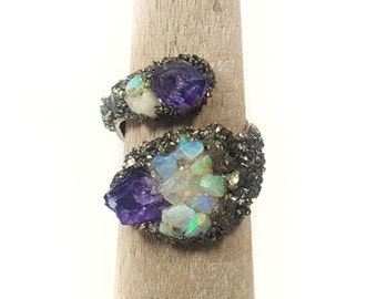 CRYSTAL WRAP BYPASS Ring // Amethyst ~ Ethiopian Welo Opal ~ Crushed Pyrite Dust ~ Gifts For Her ~ Bridesmaid Gift ~ Quartz Stone Ring