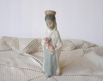 Retired Lladro, Baltasar belén, from Childrens Nativity set, shiny glazed, No 4675, with original damaged box
