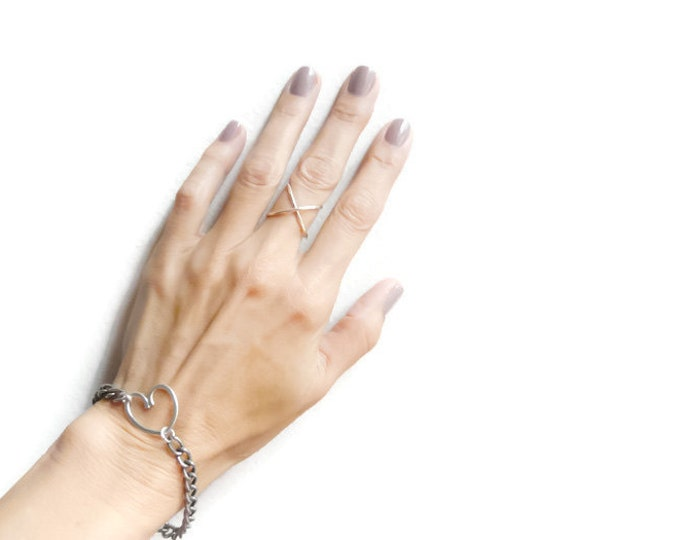 """Sterling Silver Criss Cross Ring """"X"""" Ring Index Finger Mid Finger Ring Handmade Jewelry Under 25"""