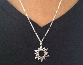 Silver sun necklace etsy sun necklace silver sun necklace hippie necklace sterling silver sun necklace gift mozeypictures Image collections