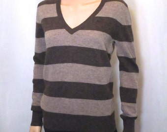 Vintage Lambswool Sweater. Women's Striped Brown & Taupe Knit Pullover. 90s Luxury Barbour does chic 70s Preppy Office Career Separates. S M