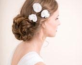 Bridal Flower Hair Pin - Hair Accessory Rose Pins - Wedding Hair Accessory - Floral Chiffon Hair Pins - Ivory / Soft White / White