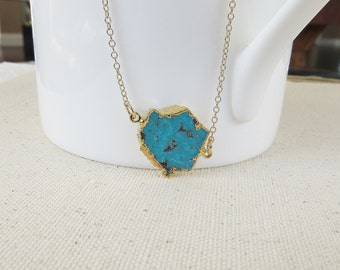 Turquoise Slice Necklace, Gold Turquoise Necklace, Raw Turquoise Jewelry, Gold Rimmed Necklace, Everyday Necklace, Gold Filled Necklace