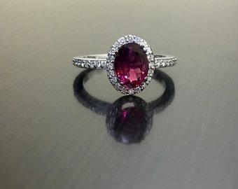 Art Deco Platinum Halo Ruby Diamond Engagement Ring - Platinum Art Deco Diamond Ruby Wedding Ring - Platinum Ruby Ring - Art Deco Ruby Ring