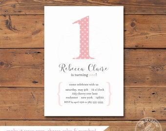 Stitched Linen Polka Dot Number Printable Birthday Invite/ Textured