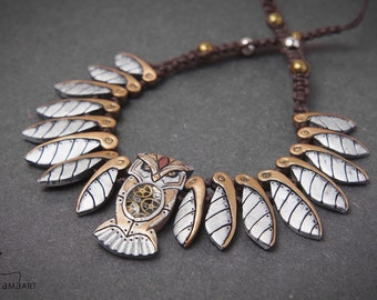 Mechanical Clockwork Steampunk Owl Necklace Owls Bird Wings Jewelry MADE TO ORDER