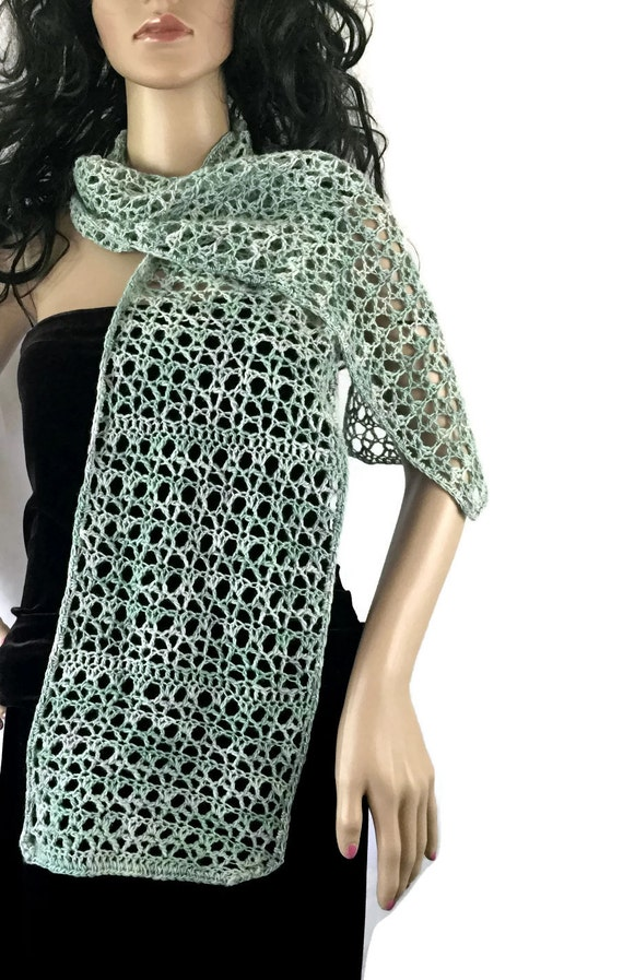 Outlander Warm Cashmere Silk Scarf - Muted Aqua Crochet Knit Neck Womens Scarves Gift under 50 Neck Warmer Blue Green- FREE SHIPPING CS14