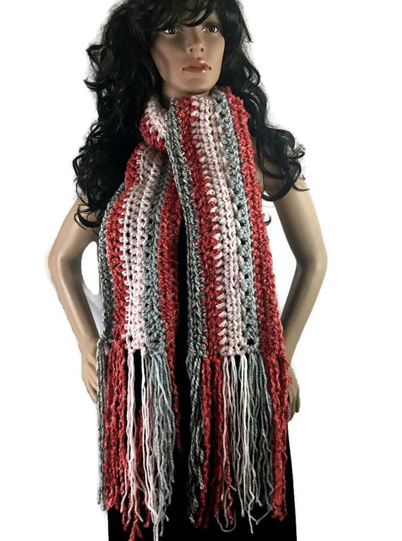 Ragamuffin Fringe Long Winter Scarf - Gray Coral Orange Pink Gift Under 50 - OOAK Chunky Knit Crocheted Neckwarmer FREE SHIPPING RG09