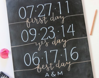 First Day Yes Day Best Day - Special Dates - Hand Painted Sign Custom Wedding or Special Event Date Chalkboard Sign - Personalized Wall Art