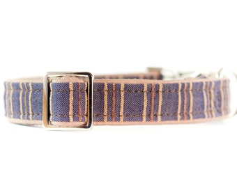 Denim Dog Collar, 1 Inch Dog Collar, Blue Jean Dog Collar, Denim Side Release Metal Buckle Dog Collar, Designer Dog Collar, Silver Buckle
