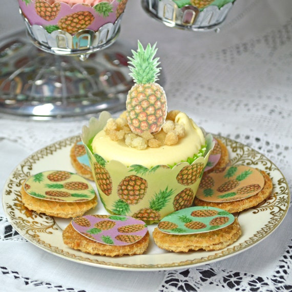 Edible Cake Decorations Beach : Edible Pineapples Party Decorationsx288 Wafer Rice Paper ...