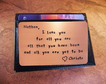 7th Anniversary Gift, Copper Anniversary, 7th Wedding, Copper Wallet Insert, Cool Mens Gift