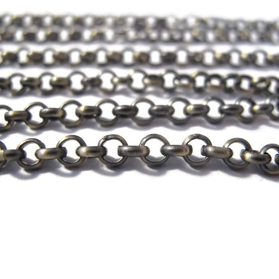 Ten Feet of Antique Brass Chain, 4mm Plated Rolo Chain for Making Jewelry, Vintage Looking Chain, Large Chain (40099156)