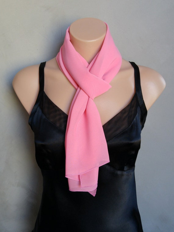 Pink Scarf, Sheer Chiffon Skinny Pink Scarf, Lightweight Summer Pink Scarf