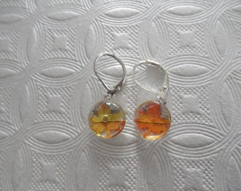 Falling Leaves-Tiny Ombre Red, Yellow, Orange Maple Leaf Small Round Glass Leverback Earrings-Nature's Art-Autumn Inspired-Gifts Under 25