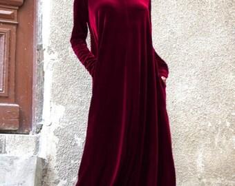 New Maxi Velvet Deep Burgundy Dress / Kaftan Dress / Side Pockets Dress / Extravagant Long Party Dress /Turtle Neck Kaftan by AAKASHA A03498