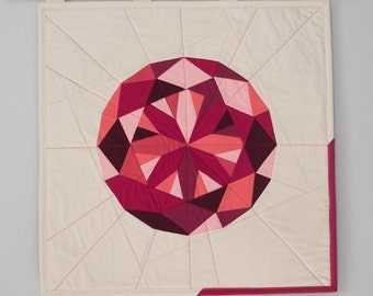 Quilted Wall Hanging - Ruby Gem - July Birthstone