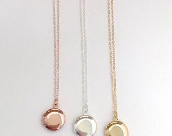 Small Round Locket Necklace, Tiny 13mm Photo Locket, Tiny Vintage Locket, Picture Locket, Wedding Jewelry, Flower Girl, Little Girl Locket