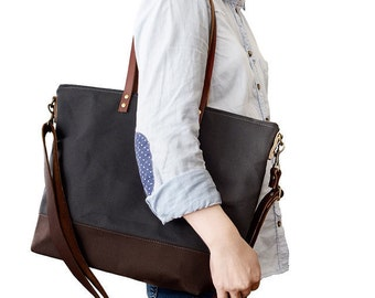 CARRIER CROSSBODY TOTE | Best for Diaper Bag, Laptop, Travel | Wax Canvas and Leather | Zipper Closure | 4 Inside Pockets | Charcoal Grey |