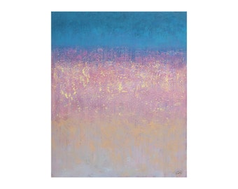 Blue pink blush yellow pastel abstract painting Textured Modern Palette knife Original Large Vertical artwork Bedroom decor gift for women
