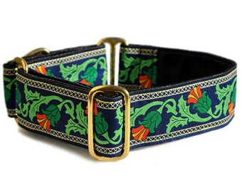 Martingale Collar or Buckle Dog Collar - Thistle Jacquard on Navy - 1.5 Inch