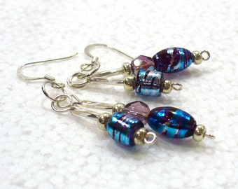 Shiny Blue Dangle Earrings: Glass Bead Drop Earrings, Nickle-Free Silver Earwires, Everyday Earrings, Handmade in the USA, Ready to Ship