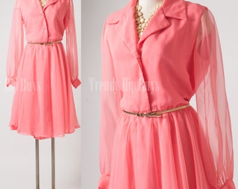 Vintage pink dress, Vintage 60s dress, Mad Men Dress, Vintage Sheer dress, Bright Pink Dress, 60s Party Dress, plus size dress - XL/1XL