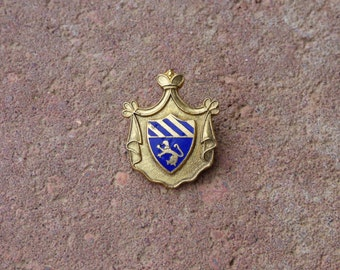 Heraldic Coat of Arms Pin - 1950's Metal Pin - Enameled Griffin Crest - Blue Gold Detailing - Hat Pin - Scarf Pin - Collectible Vintage Pin