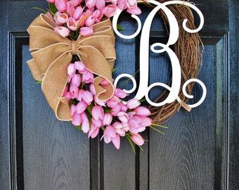 Pink Mini Tulip Wreath. Grapevine Wreath. Year Round Wreath. Spring Wreath. Summer Wreath. Monogram Wreath. Door Wreath.