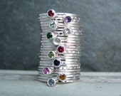 Gemstone Stackable Rings Set of ? You Choose - Stack Mother Ring - Bright Silver - Personalized Birthstone Jewelry - Family Stack Rings
