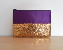 Purple and gold clutch bag, sequin clutch, party purse, bridesmaid clutch, bridal purse, evening bag, gold and purple purse, make-up bag