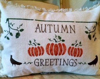 """12""""x16"""" Country Autumn Greetings Recycled Cotton Canvas Pillow Cover"""