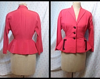 Beautiful Vintage  1940's salmon rayon fitted jacket with peplum