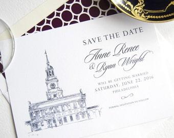 Independence Hall, Philadelphia Skyline Save the Dates (set of 25 cards)